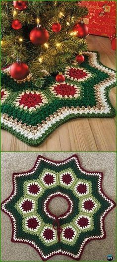 Crochet Granny Ripple Tree Skirt Free Pattern - Crochet Christmas Tree Skirt Free Patterns by Carolyn Hansen Christmas Tree Skirts Patterns, Crochet Christmas Ornaments, Holiday Crochet, Crochet Home, Crochet Crafts, Free Crochet, Christmas Crafts, Crochet Christmas Blanket, Free Christmas Crochet Patterns