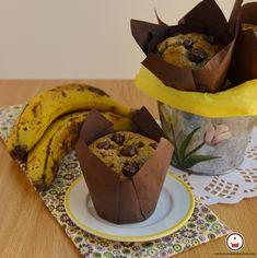 Muffins de plátano y chocolate. Vía: Aroma de chocolate