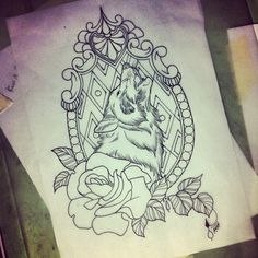 Tattoo, wolf with frame and flowers
