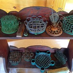 Vintage wire flower frogs and arranging cages.