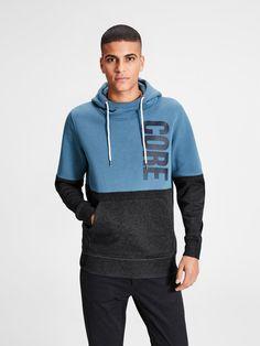 Colour block sweatshirt   JACK & JONES Moda Peru, Hooded Jacket, Bomber Jacket, Tactical Jacket, Jack Jones, Men's Collection, Kids Outfits, Street Wear, Mens Fashion