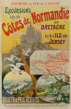 Vintage Railway Travel Poster - Excursions sur les Côtes de Normandie et… Vintage French Posters, Vintage Travel Posters, Vintage Postcards, French Vintage, Poster Ads, Advertising Poster, Vintage Labels, Vintage Ads, Vintage Purses