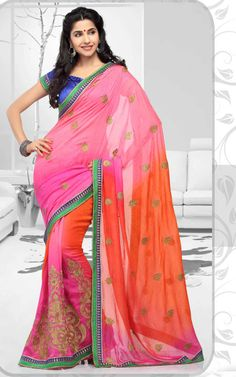 PINK & ORANGE GEORGETTE JACQUARD LATEST SAREE - RIS 1711
