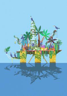 #cormorant #bird #island #ocean #tree #construct #forest #coconut #nature #environment #protect #noplastic #illust #illustration #greenpeace #wwf #가마우지 #자연 #환경보호 #숲 #멸종위기종 #해양오염 #일러스트 Sandbox, Zine, Ferris Wheel, Habitats, Wildlife, Fair Grounds, Illustration, Artwork, Inspiration