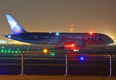 Night Flight - This picture shows you how a Dreamliner is seen on the night! LAN Boeing 787 from EDDF to LEMD! Boeing 787 Dreamliner, Boeing 787 8, Commercial Plane, Commercial Aircraft, Lan Chile, Lan Airlines, Airplane Wallpaper, Mall Of America, North America