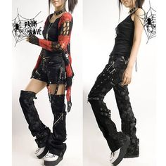 Mens Womens Black Heavy Metal Punk Rock Rave Clothing Pants. The shorts one would be a good idea for a Harley Quinn costume