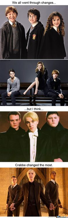 We all went through changes, but I think Crabbe changed the most. #HarryPotter