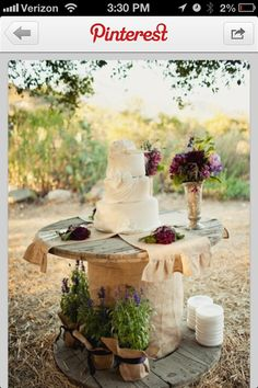 Cake table, I like the vace, and flowers in front