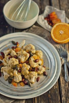 Cauliflower salad with almonds, apricots, and fried capers