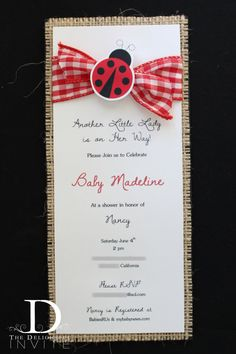 little lady ladybug baby shower invitations by
