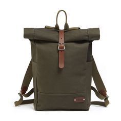 NEW Roll Top Backpack - Green / Brown