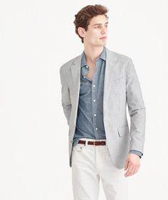 Ludlow summerweight cotton-linen blazer in fine stripe