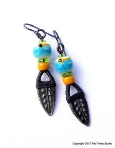 Rustic tribal-influenced artisan  earrings, by Two Trees Studio.