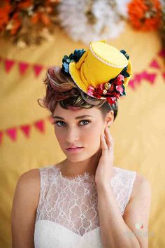Whimsical Mini Top Hat by TwoBackFlats #WeddingHat  #yellow, #Pink, #Red, #Blue,  #BirthdayPartyHat, #Bridesmaid , #TeaParty #RockNrollBride #wedding