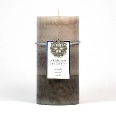 """Light this delicious scented candle while you drink your morning coffee! This Almond Biscotti scented pillar is infused with delectable notes of vanilla, crunchy almonds, spiced sugar and hints of anise and raspberry. Lead and tin free cotton wick. Burn time: up to 90 hours.   Dimensions 3"""" x 3"""" x 6"""" #candle #pillarcandle #almond #spa #isitmondayyet #pecansthomedecor  http://www.pecansthomedecor.com/candles/almond-biscotti-pillar-candle-3x6.html"""