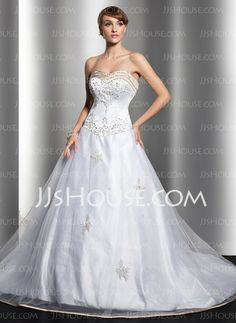 Wedding Dresses - $184.99 - Ball-Gown Sweetheart Court Train Satin Tulle Wedding Dress With Embroidery Sashes Beadwork Sequins (002004596) http://jjshouse.com/Ball-Gown-Sweetheart-Court-Train-Satin-Tulle-Wedding-Dress-With-Embroidery-Sashes-Beadwork-Sequins-002004596-g4596