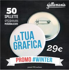 #spillamania #winter #promo #spille #spillette #pins #personalizzate #followme www.spillamania.it