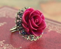 Beautiful - Vintage Inspired Blooming Rose Flower Resin Ring
