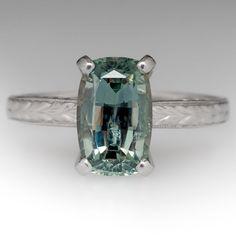 4 Carat Light Blue-Green Montana Sapphire Ring Platinum