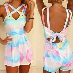 Fashionable V-Neck Hollow Out Tie-Dyed Sleeveless Romper For Women