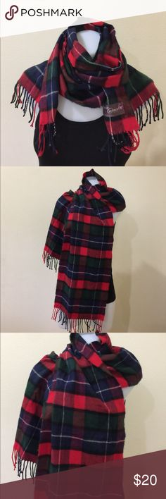 Plaid tartan green , red and blue long scarf Gently worn , soft with fringe , approx 66 inches long Accessories Scarves & Wraps