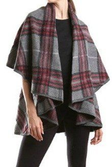 Social Threads Plaid Blanket Cape