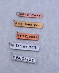 "Add A Custom Rectangular Metal Tag to Your Necklace/Key Chain/Bracelet-1/4"" wide 1""=2"" long; Names, Initials, Date, Words"