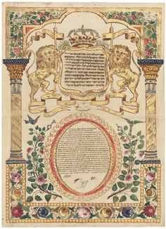 Ketubah, Cochin, India 1882.  Lions holding staffs flanking crowned medallion. Two columns and border with roses and other flowers.