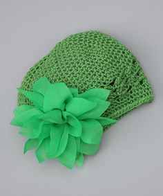 Take a look at this Green Flower Knit Beanie by Posh Petals on #zulily today!