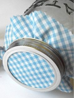 69 Super Ideas For Baby Shower Favors For Boys Mason Jars Canning Gingham Fabric, Blue Gingham, Baby Shower Favors, Baby Boy Shower, Canning Jar Labels, Blue Mason Jars, Jelly Jars, Diy Wall Shelves, Jam Jar