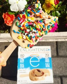 UPGRADE  Do you know you can turn any ENLIGHTENED Ice Cream Bar into a sprinkle-dipped ice cream bar?!    Just let it melt a little and roll it in your favorite sprinkles!  #eatenlightened