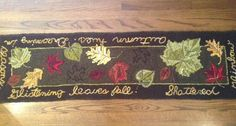 Autumn Leaves table runner rug hooking pattern 57 by LCsWoolnSilk