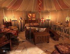 Knight's Pavilion Interior Viking Tent, The Boy King, Viking House, Traditional Japanese House, Environment Design, Patchwork Rugs, Studio, Luxury Homes, Knight