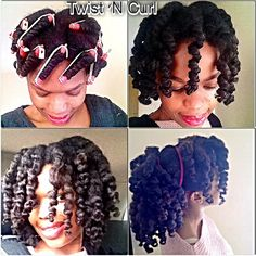 Twist and curl- achieved on twisted hair and added perm rods on damp hair.