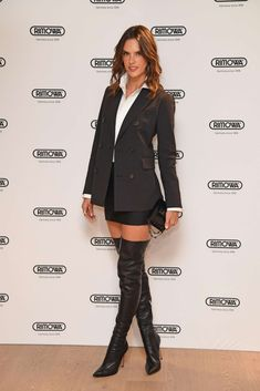 Alessandra Ambrosio in thigh high boots