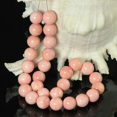 Eastern Trade Winds by Agustus-Collection :: Genuine Pearls :: Natural Wild Pearls :: Conch Pearls :: HUGE Caribbean QUEEN CONCH SHELL Strand Natural Pink Round Beads Bahamas 14 mm