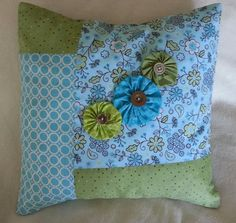 Pillow Cover 15 x 15 Patchwork Aqua Green by GwensCreativeCottage, $17.50