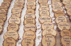 Rustic wood pieces for place cards.