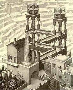 La Cascada imposible. Aquí tenéis la cascada de Escher. Empieza a mirar el dibujo a partir del ángulo superior izquierdo, veras caer el agua de la cascada, la cual pone en movimiento la rueda del molino. Después, el agua corre por un canal y, si sigues su curso, comprobaras que se aleja de ti. De repente, el punto mas lejano y mas bajo parece coincidir con el mas alto y mas próximo. El agua cae de nuevo: ¡estas ante una corriente imposible!