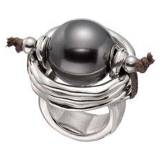 """Anillo """"De Perlas"""" de Uno de 50 con gran perla gris."""