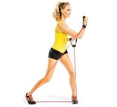 Feisty Fighter: Stand on band with feet wide, knees soft, a handle in each hand. Pivot on right toe as you uppercut punch to left (as shown). Quickly repeat on opposite side for 1 rep. Do 20 reps. Fitness Tips, Fitness Motivation, Health Fitness, Fitness Routines, Wedding Dress Workout, 20 Minute Workout, Resistance Band Exercises, Yoga, Get In Shape