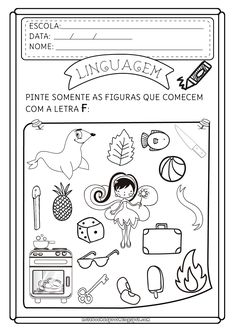 Notebook da Profª: Atividades Letra F Portuguese Lessons, Vintage Paper Dolls, Letters And Numbers, Speech Therapy, Special Education, Cool Kids, Alphabet, Homeschool, Notebook