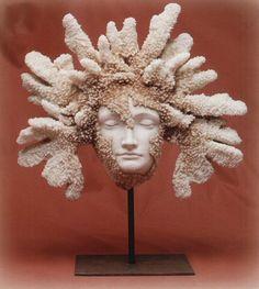 Faux Coral Decorative Pieces | Faux Coral Face Statue On Iron Base
