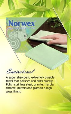 Norwex #Envirotowel (www.norwex.com) Suede Microfiber is very compact, wet or dry, and super absorbent. Dries quickly!  This towel will dry and clean at the same time. It effectively removes water from all surfaces even when damp. Use for drying dishes, or for dusting highly-polished surfaces without streaks. Use with water only. Used For: Cleaning and polishing fine wood furniture, As a sports or hair towel,  drying dishes or for polishing glossy surfaces to prevent streaks, in your gym bag.
