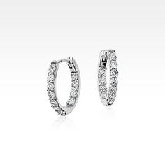 Monique Lhuillier Diamond Hoop Earrings in White Gold tw) - Damn. Rose Gold Jewelry, Bridal Jewelry, Diamond Jewelry, Bridal Accessories, Stylish Jewelry, Fine Jewelry, Jewelry Center, Silver Ring Designs, Dreamland Jewelry