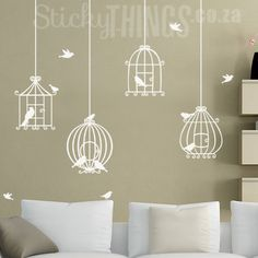 www.stickythings.co.za Our Bird Cage Wall Art Decal Sticker is made up of 4 bird cages with 4 flying birds and 7 perched birds. Delivery across South Africa plus get 8 butterflies for free! #stickythingswallstickers
