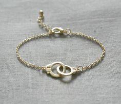 Delicate simple everyday handcuff gold bracelet. $14.00, via Etsy.