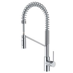 Instantly modernize your kitchen with a unique pull-down commercial design that combines the look of a professional faucet with the convenience of a pull-down spray head for a wide range of motion all around the sink. The heavy-duty open-coil spout adds an industrial touch for a highly desirable modern look. QuickDock mounting technology allows for fast and easy top mount installation, so you can install this faucet in a matter of minutes from above the kitchen counter, ... Kitchen Sink Faucets, Kitchen Handles, Kitchen Counters, Bathroom Faucets, Layout Design, Fixed Shower Head, Commercial Kitchen, Commercial Design, Modern Kitchen Design
