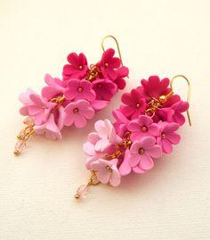 Pink earrings  Flower earrings  Ombre earrings  by insoujewelry