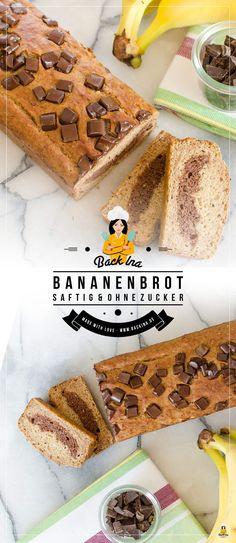 Gesundes Bananenbrot ohne Zucker und Fett - dafür mit Dinkelmehl, Birkenzucker und Marmor-Schoko-Swirl. Einfach saftig und lecker!   BackIna.de